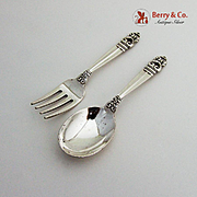 Royal Danish Baby Fork Spoon Set International Silver Co Sterling Silver
