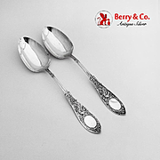 Arabesque Tablespoons Pair Whiting Mfg Co Sterling Silver Pat 1875