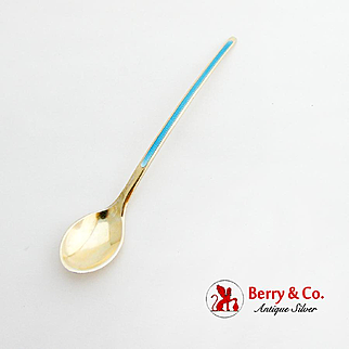 Norwegian Gilt Baby Feeding Spoon Blue Enamel Sterling Silver 1950
