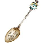 Canada Gilt Souvenir Spoon Embossed Bowl Figural Enamel Handle Sterling Silver
