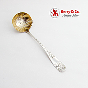 Floral Bright Cut Cream Ladle Gilt Bowl Towle Sterling Silver Monogram
