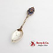 Canadian Gilt Souvenir Spoon Moose Embossed Bowl Enamel Sterling Silver