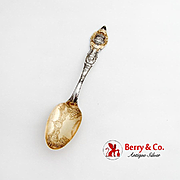 St Louis Worlds Fair Souvenir Spoon Embossed Bowl Gilt Sterling Silver Wallace