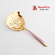 Pierced Gilt Bon Bon Candy Nut Spoon Light Violet Enamel Watson Sterling Silver