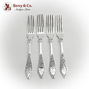 Antique Floral Forks Set Engraved Crest S Kirk And Son Coin Silver 1880