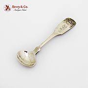 Antique Master Salt Spoon Flower Basket Coin Silver NYC 1820