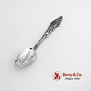 Figural Salmon Souvenir Spoon Engraved Bowl Sterling Silver 1900