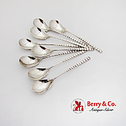 Arts And Crafts Egg Sorbet Spoons Set Dominick Haff Sterling Silver 1885