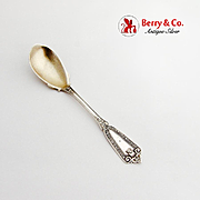 Ivy Egg Spoon Gilt Bowl Devils Mask Whiting-Hebbard Sterling Silver Pat 1866