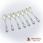 Chantilly Ice Cream Forks Set Gilt Bowls Gorham Sterling Silver Pat 1895