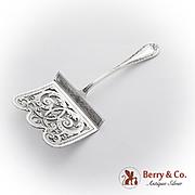 Belleflower Scroll Asparagus Server Engraved Pierced Blade 800 Silver 1890