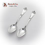 Pacific Teaspoons Pair Schulz Fischer Coin Silver 1870 San Francisco