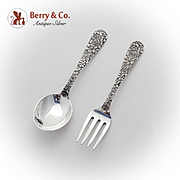 Repousse Baby Flatware Spoon Fork Set S Kirk And Son Sterling Silver