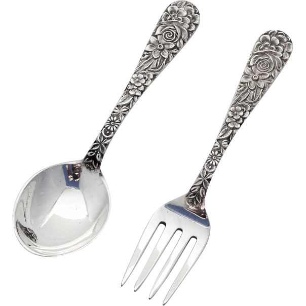 Repousse baby flatware spoon fork set s kirk and son for Sterling silver baby spoon and fork