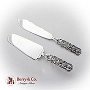 Openwork Viking Rose Cake Saw Pastry Pie Server Set Cast Sterling Silver