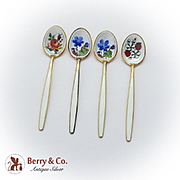 Gilt Enamel Floral Demitasse Spoons Set David Andersen Sterling Silver Norway