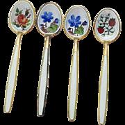 Gilt Enamel Floral Demitasse Spoons Set David Andersen Sterling Silver Norway