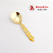 Ornate Yellow Enamel Gilt Jam Spoon J Tostrup Sterling Silver Norway