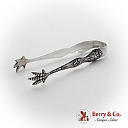 Daffodil Small Sugar Tongs Baker Manchester Sterling Silver 1900 Monogram