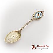 Evangeline Nova Scotia Gilt Souvenir Spoon Multi Colored Enamel Sterling Silver