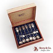 Javanese Art Figural Spoons Fork Boxed Set 800 Standard Silver 1950 Indonesia