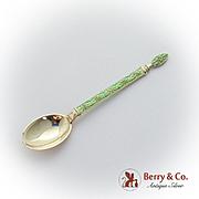 Vintage Gilt Demitasse Spoon Green Enamel Sterling Silver 1940