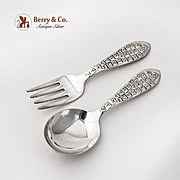 Alphabet Baby Flatware Fork Spoon Set Rogers Sterling Silver