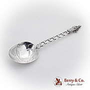 Apostle Spoon Openwork Handle Repousse Ship Bowl Sterling Silver 1920