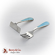 Blue Guilloche Enamel Baby Fork Food Pusher Set Watson Co Sterling Silver