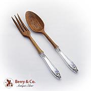 Prelude Salad Serving Set Wooden Bowls Tines International Sterling Silver