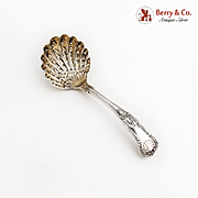 Kings Strainer Ladle Fluted Pierced Shell Bowl Sterling Silver 1904 Sheffield