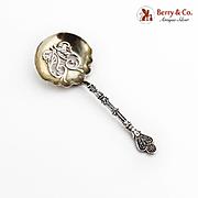 Art Nouveau Bon Bon Candy Nut Spoon Gilt Ornate Pierced Bowl Sterling Silver