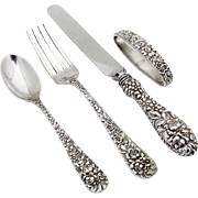 Stieff Rose Baby Flatware Set Napkin Ring Sterling Silver 1940