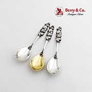 Figural Hatching Chicks Egg Spoons Set Daniel Low Co Sterling Silver 1890