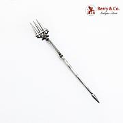 Intricate Figural Olive Fork Spear End Italian 800 Standard Silver 1900