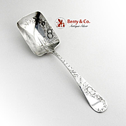 Bright Cut Engraved Floral Preserve Spoon Towle Sterling Silver 1880