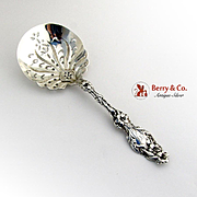 Lily Large Pea Serving Spoon Pierced Bowl Whiting Mfg Co Sterling Silver Pat 1902
