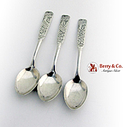 Aesthetic Engraved Demitasse Spoons Set Joseph Seymour Sterling Silver 1875