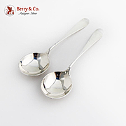 Windsor Gumbo Chowder Soup Spoons Pair Old Newbury Crafters Sterling Silver