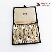 Arts And Crafts Floral Demitasse Spoons Boxed Set Liberty Co Sterling Silver