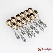 Princess Egg Spoons Set Gilt Bowls Polhamus Shiebler Sterling Silver Pat 1874