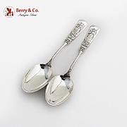 Fontainebleau Dessert Spoons Pair Gorham Sterling Silver 1880 No Mono