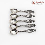 Figural Tennis Souvenir Spoons Set Beaver Finial Acid Etched Bowls Sterling Silver