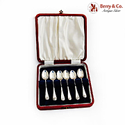 English Shell Coffee Spoons Boxed Set Sterling Silver 1961 Birmingham