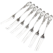 Strawberry Pattern Strawberry Forks Set Durgin Sterling Silver 1900 Mono
