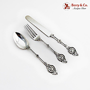 Medallion Youth Flatware Set Schulz Fischer Coin Silver San Francisco
