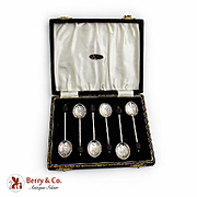 Coffee Bean Finial Coffee Spoons Boxed Set Sterling Silver 1940s Birmingham