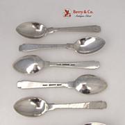 Porter Blanchard Demitasse Spoons 6 Hand Made Hammered Sterling SIlver