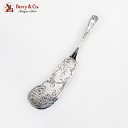 Ornate Server Engraved Floral Blade Peter L Kreider Coin Silver 1860 Mono