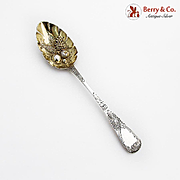 Georgian Tablespoon Gilt Fruit Bowl Engraved Handle Sterling Silver 1821